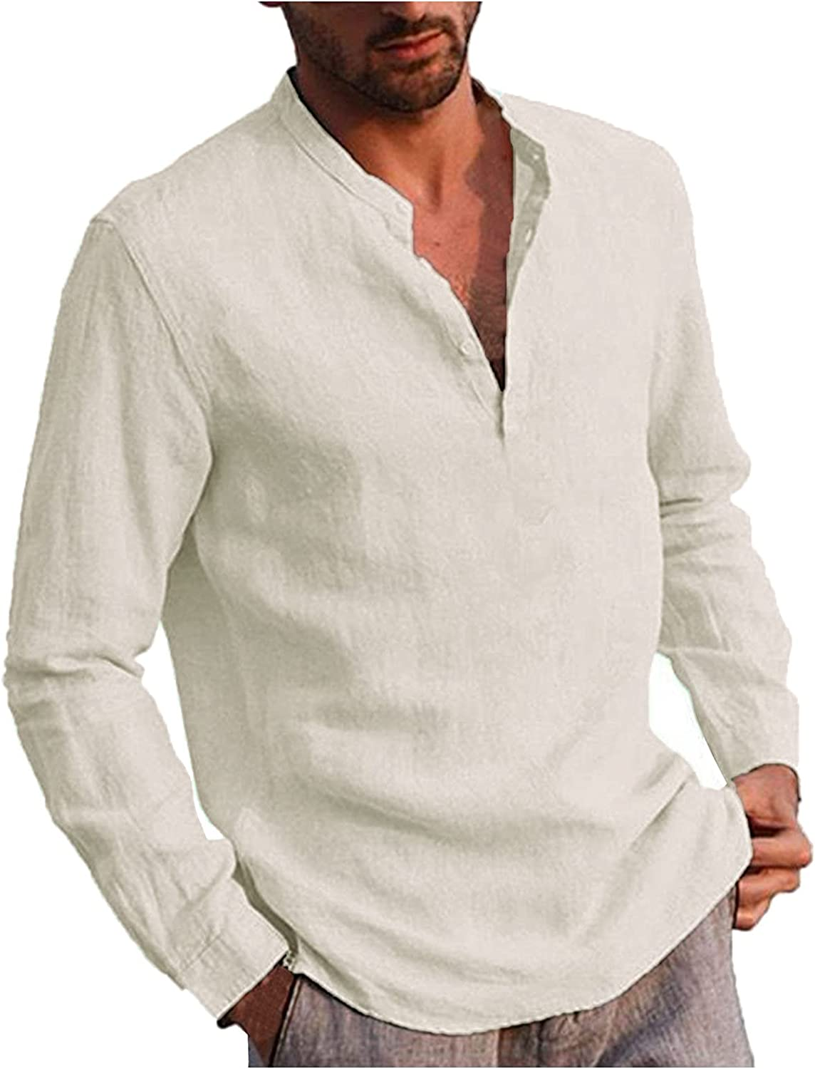 WOCACHI Long Sleeve Shirts For Mens, Fall Henley V Neck Casual Solid Beach T-Shirts Slim Fit Soft Yoga Tops