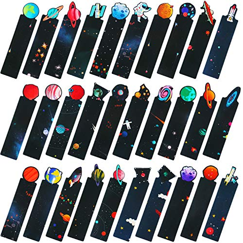 60 Pieces Space Bookmarks Colorful Universe Bookmarks Assorted Planet Spaceship Solar System Book Markers Note Paper Cards