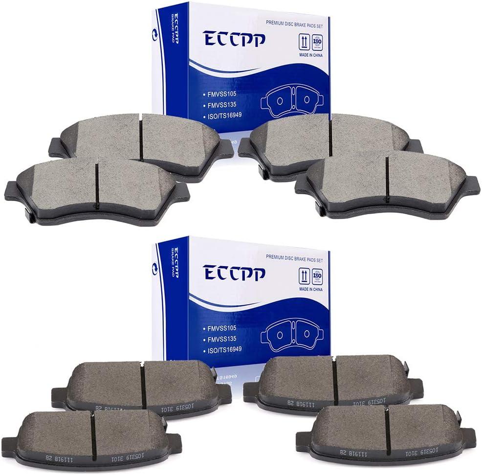輸入 Brake Pads ECCPP 8pcs Ceramic 2011-2015 Kits for ブランド激安セール会場 fit Disc
