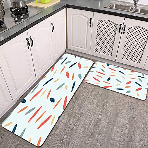 2 Piezas Alfombrillas de Cocina,Tablas de Surf de Patrones sin Fisuras Moderno diseño Plano Antideslizante Alfombra para Puerta de Baño Juego de alfombras Cocina Lavables