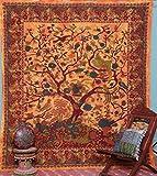 Sophia Art, Wandteppich, Motiv: Mandala-Baum, mehrfarbig, Wandbehang / Tagesdecke, Hippie- / Bohemian-Stil Orange