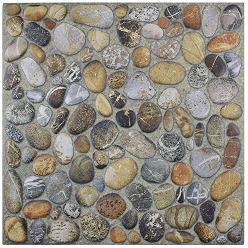 SomerTile Pebble Stone, Brown/Beige/Cream/White/Grey/Black FCG12PNI Porcenilo Pebblestone Porcelain Floor and Wall Tile, 12.125