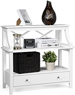 Giantex 3 Tier Console Table with a Large Drawer, Sofa Side Table with Storage Shelves, Entryway Hall Table Furniture, Display Rack Stand for Living Room Bedroom Study, Easy Assembly (White)