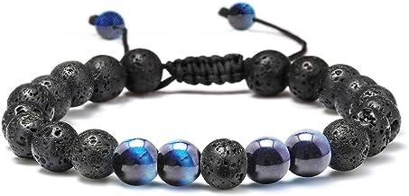 دستبند دستبند گردن - 8mm دستبند چشم ببر سنگ دستبند دستبند سنگ، امداد استرس یوگا حیرت انگشت قابل تنظیم دستبند اضطراب Aromatherapy روغن ضروری فرآوری دستبند لاوا برای مردان زنان