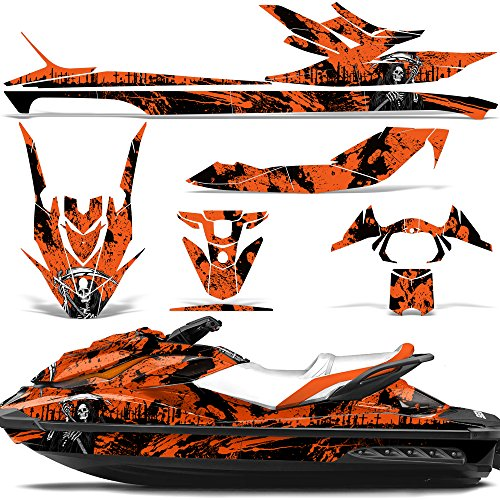 Wholesale Decals Jet Ski Graphics kit Sticker Decal Compatible with Sea-Doo GTI SE130 2011-2019 - Reaper V2 Orange