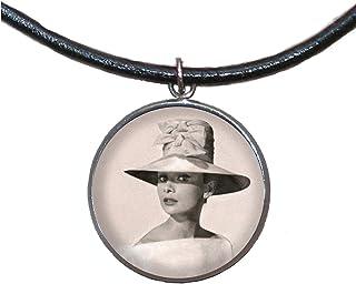 Ciondolo in acciaio inossidabile, 30mm, cordoncino di cuoio, fatto a mano, illustrazione Audrey Hepburn