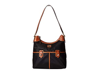 Dooney & Bourke Camden Zip Hobo (Black/Dark Chocolate Trim) Hobo Handbags