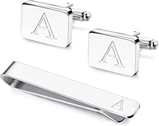 Engraved Initial Cufflinks and Tie Clips Set for Men Wedding Business Jewelry with Gift Box Alphabet A-Z