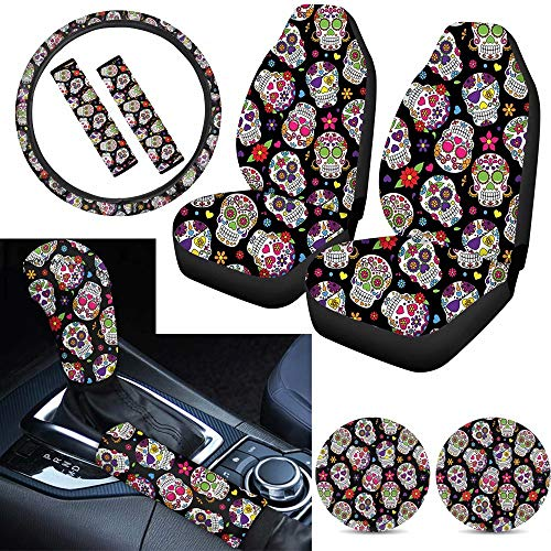 Tupalatus Auto Front Seat Covers Steering Wheel Cover,Seat Belt Shoulder Pads,Cup Holder,Sugar Floral Skull Shift Knob Cover,Car Handbrake Protector Full Set of 9 Pieces for Women Ladies Gifts