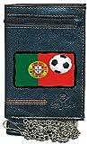 Pochette Etui Portefeuille Homme, Porte Monnaie, Cartes, papiers Drapeau Portugal avec Ballon de Foot avec Chaine