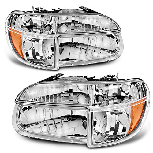 AUTOSAVER88 Headlight Assembly Compatible with 1995-2001 Ford Explorer/Mountaineer OE Style Replacement Headlamps Chrome Housing with Amber Reflector Clear Lens + Corner Lights
