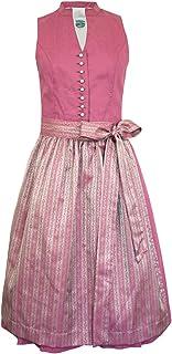 Turi Landhaus Damen Dirndl Fiona D821073 - Rosa 65 cm - Schlichtes Elegantes Damen Midi Baumwoll Dirndl zu Oktoberfest Kirchweih Sonntagsausflug Sommerkleid Landhausmode