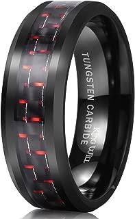 Gentleman 8mm Black Tungsten Carbide Ring Black/Red/Green/Blue Carbon Fiber Inlay Polished Finish Edges Comfort Fit