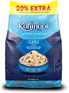 Kohinoor Super Value Basmati Rice, 1 Kg + 20% Extra | Authentic Basmati Rice