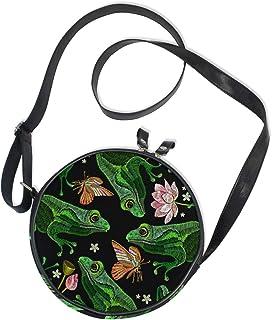 Ahomy Messenger Bags Frösche Lotus Blumen Schmetterling Frauen Runde Tasche Kinder Crossbody Kreis Geldbörse Canvas Bag