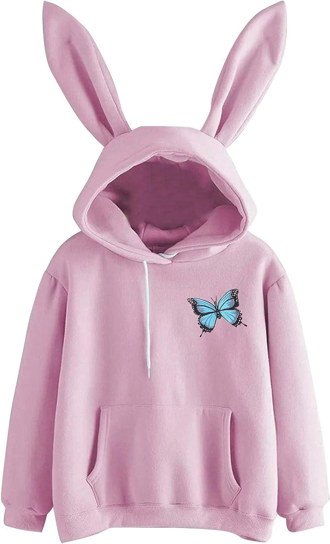 Women's Hoodie Soft Cute Rabbit Bunny Ears Pullover Solid Color Drawstring Long Sleeve Sweatshirt