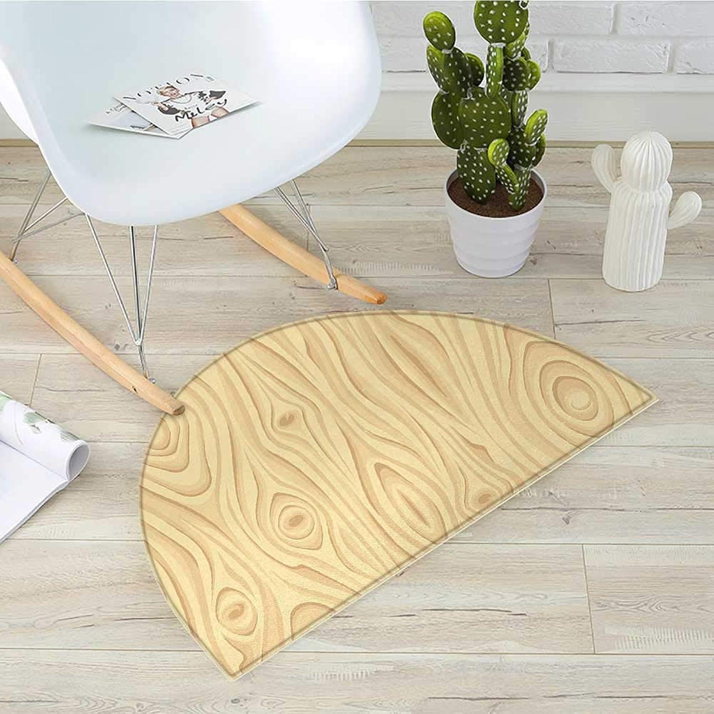 Beige Half Round Door mats Wooden Texture Pattern Grains of Wood Natural Tree Growth Lines of Nature Organic Theme Bathroom Mat H 31.5  xD 47.2  Cream