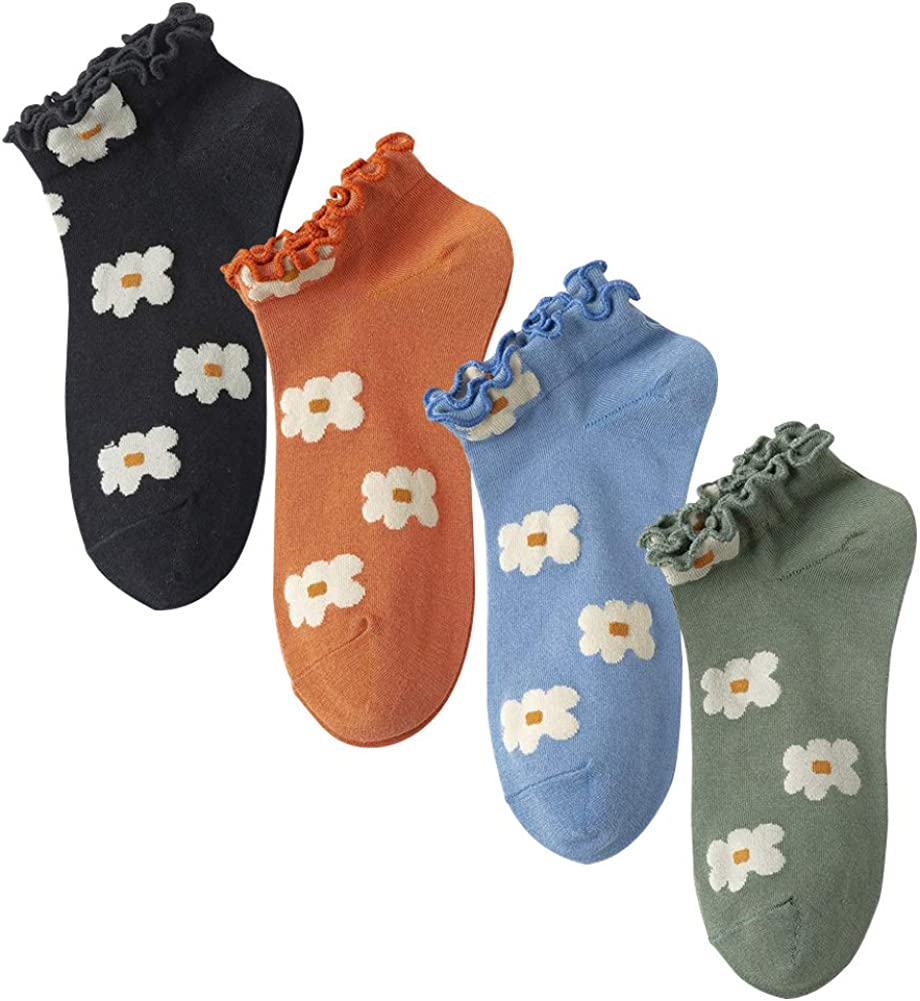 Women Ruffle Frilly Candy Color Low Cut Crew Socks Pattern Printed Soft Casual Ankle Socks 4 Pairs