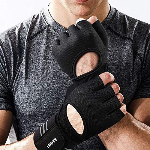 1DOT2 Fitness Handschuhe Herren Trainingshandschuhe rutschfest atmungsaktiv aus Mikrofaser und künstlichem Sämischleder für Gewichtheben Bodybuilding Crossfit in schwarz M