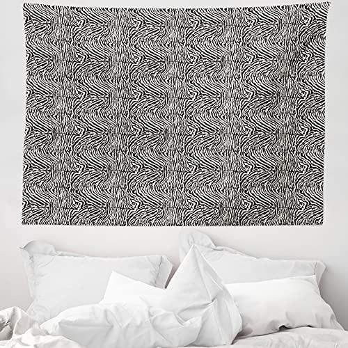 ABAKUHAUS Zebra-Druck Wandteppich & Tagesdecke, Kunst Ringel-Haut-Muster, aus Weiches Mikrofaser Stoff Wand Dekoration Für Schlafzimmer, 150 x 110 cm, Koksgraue Off White