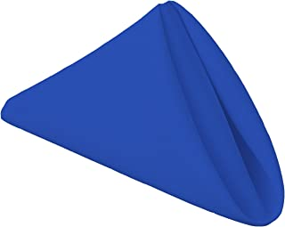 Gee Di Moda Cloth Napkins - 17 x 17 Inch Royal Blue Solid Washable Polyester Dinner Napkins - Set of 12 Napkins with Hemmed Edges - Great for Weddings, Parties, Holiday Dinner & More