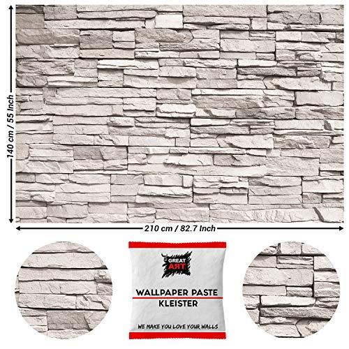 Great Art fotobehang wit stenen muur stenen muur 210 x 140 cm - 5 Teile + Kleister Weiße Steinwand