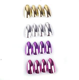 96Pcs Stiletto Fake Nails Full Cover Metal Mirror Reflection Glitter Sequins Medium Length False Acrylic Nail Kits(Gold and Silver Multicolor Mixed Series)