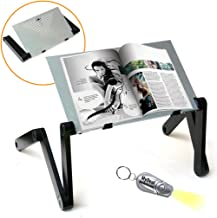 QuickLIFT Book & Magazine Portable Stand with Easy Set-Up & Adjustable Height / Angle for Mounting on Desk / Bed / Couch / Floor. Includes Flashlight