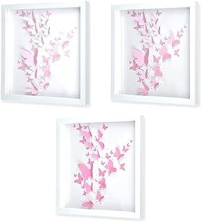 """Green Frog 3D Pink Butterfly Shadow Box Art 3 Piece Set 14"""" x 14"""" - Quality Plastic Frame, Plexiglass, Paper Cut Out Butterflies - Girls/Kids Bedroom Wall Art"""