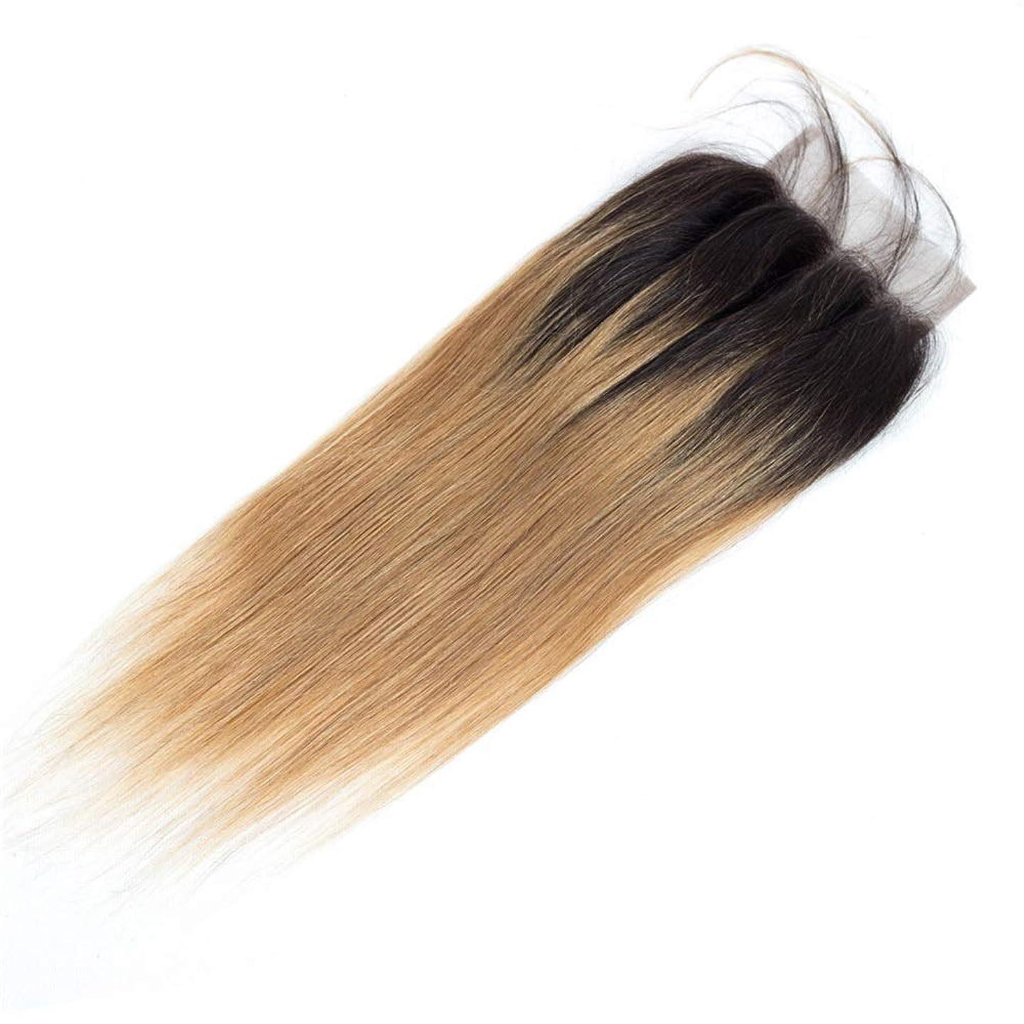 バン葉っぱブランクBOBIDYEE 実体波ブラジルの人間の髪の毛のレース前頭閉鎖カラー1B / 27黒から耳に茶色の耳4 x 4インチトップクロージャーロングストレートウィッグ茶色のかつら (色 : ブラウン, サイズ : 12 inch)