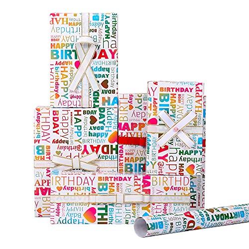 MAMUNU 6 Bögen Geschenkpapier, Geburtstagsgeschenkpapier, 44 x 76 cm (Happy Birthday)