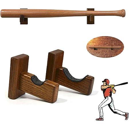 Handmade Wood with Felt Liner and Hidden Screws Protective Rack Brackets Hanger Baseball Bat Holder Case for Horizontal Display ZOENHOU 4 PCS Baseball Bat Display Wall Mount
