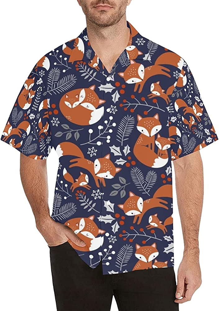 ANANGTEE All stores are sold SALENEW very popular! Foxes Men's Short Sleeve Button Hawaiian Casual Shirt D