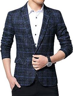 ZiXing Men's Tweed Blazer Light Weight One Button Slim Fit Smart Formal Suits Jacket