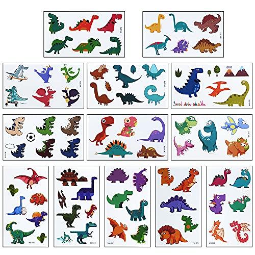 Dinosaurio Tatuajes Temporales niños, Impermeables Falso Tatuajes Pegatinas dinosaurios, Fiestas Infantiles Cumpleaños de Niños Regalo, 13 hojas tatoos regalo de decor fiesta para niños