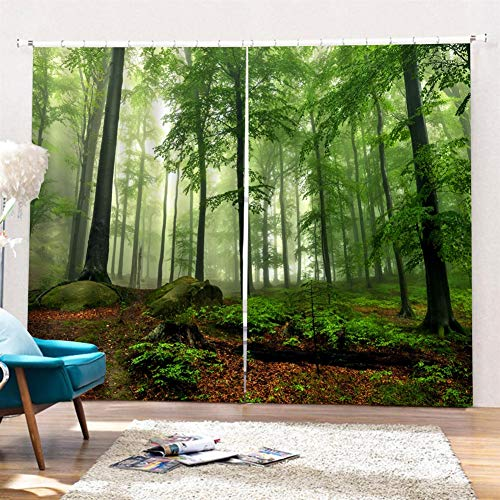 Liveinu Opaca Cortina para Habitación Térmica Aislante y Ruido Reducción 2 Unidades Impresión Digital 3D Cortinas Cortas Termicas Aislantes Bosque Verde 264x213cm