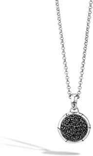 Women's Bamboo Silver Lava Small Round Pendant- on Chain Necklace with Black Sapphire, Size 16-18 Adjustable