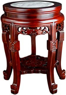 Festcool Classic Wooden Round Table, Marble Stone Top, Coffee Tea Table, Planter Stand Plant Pot Display Stand Lamp Table (17