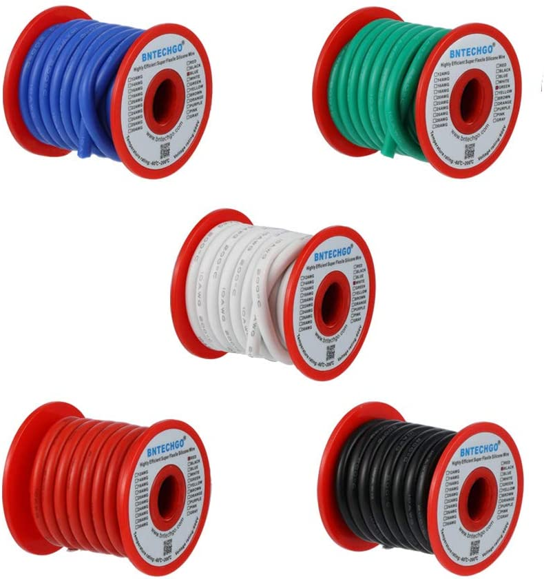 BNTECHGO 10 Gauge Silicone Wire Kit 5 Color Each 3 ft Flexible 10 AWG Stranded Tinned Copper Wire
