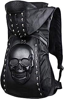Skull Punk Art Fashion Mochila con capucha remache tachonado Biker monedero gótico 3D cráneo PU cuero Bookbag Python Daypack Bolsa de hombro portátil Bolsa de escuela