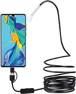 1M // 7mm Negro endoscopio FinukGo C/ámara de boroscopio de inspecci/ón a Prueba de Agua Lente de 6MED para Dispositivo de tel/éfono y port/átil con PC Android