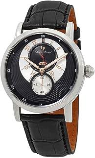 Lucien Piccard Men's 'Santorini' Quartz Stainless Steel and Leather  Watch, Color:Black (Model: LP-40043-01-RA)