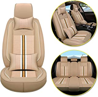 Longzhimei Car Seat Covers for VOLVO C70 S40 S60 S80 S90 V40 V60 Waterproof Breathable 5 Seats Full Set Front Rear Car Seat Cushion Cover (Warm beige)