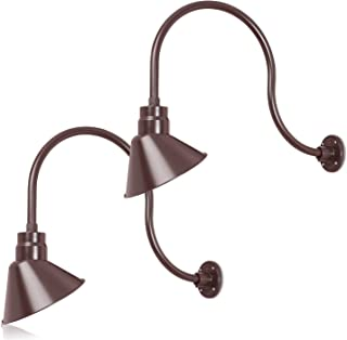 10in. Architectural Bronze Angle Shade Gooseneck Barn Light Fixture With 24in. Long Extension Arm - Wall Sconce Farmhouse, Antique - UL Listed - 9W 900lm A19 LED Bulb (5000K Cool White) - 2-Pack