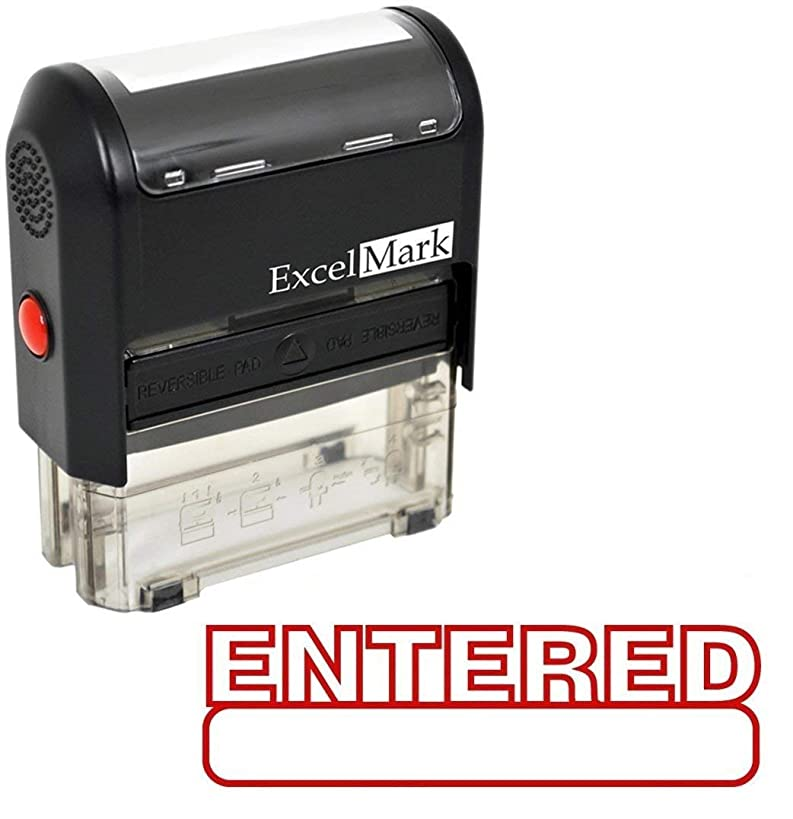 Entered Self Inking Rubber Stamp - Red Ink (42A1539WEB-R) (Stamp Only)