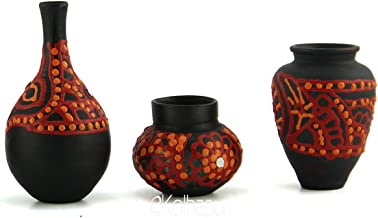 Ekolhapuri Handmade 3D Work Mini Three Show Piece Terracotta Pot Set Idols And Figurines/Home Dã©Cor/ Showpieces