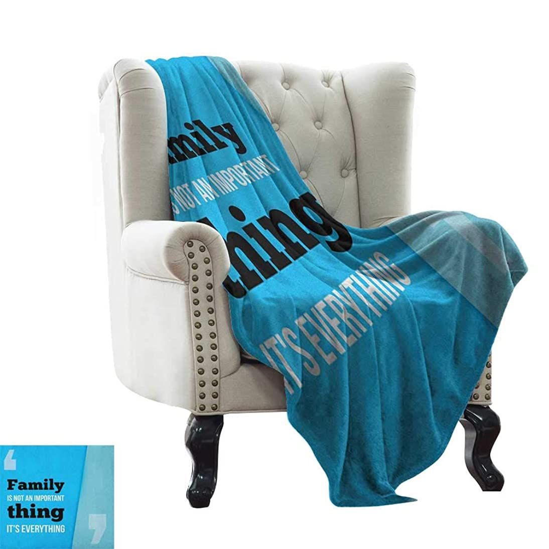 dog blanket Family,Family is Everything in Quotation Marks Inspirational Phrase Modern Design, Turquoise Blue Black Sofa Super Soft, Plush, Fuzzy Microfiber Throw Reversible,Comfy 50