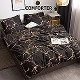 CLOTHKNOW Black and Yellow Marble Comforter Set Queen Men Boys Bedding Comforter Full Orange Gothic Bedding 3Pcs Comforter Sets Abstract Bedding