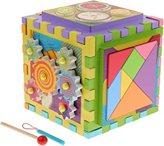 MagiDeal Wooden 6 in 1 Play Cube Activity Center, Blocks, Maze, Xylophone, Gears, Tangram Children's Toddler Learning Toy, Christmas Gift