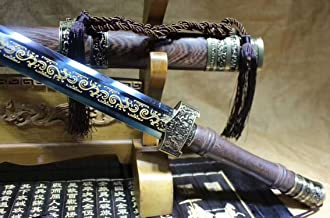 Chinese Sword Qin jian,Martial Arts Ornament(High Carbon Steel Etch Blade,Rosewood,Alloy) Length 39
